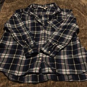 Nearly New, Blue/White/Pink Plaid Button Up Tee